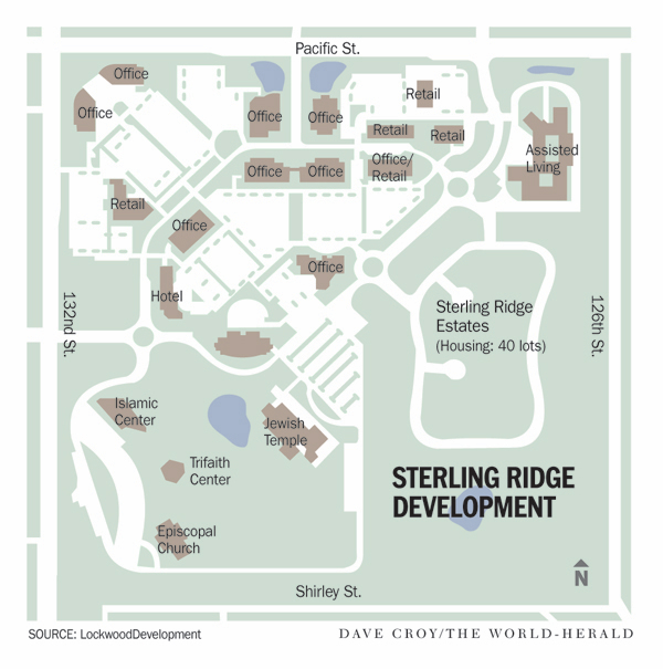 "This development in Omaha is being as a ""walkable"" ""Main Street."" Image: Lockwood Development via Strong Towns"